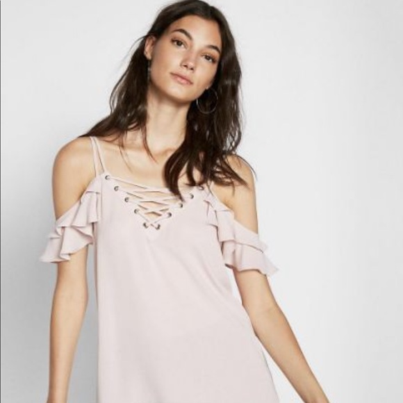 Express Tops - Express Lace Up Cold Shoulder Top